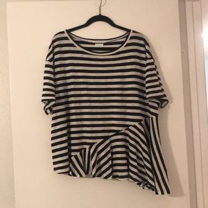 Abound White and Navy Stripe Tee Size L